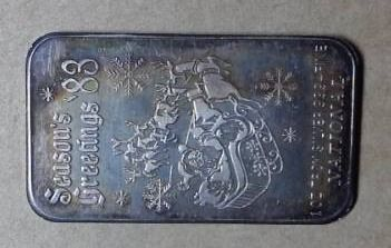 1983  Seasons Greetings  1 oz  999 Fine Silver Bar