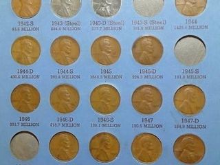 lincoln Head Cent Book  1941   up  65 Pennies with some foreign