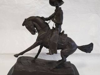 Frederic Remington  Cowboy  Signed with Marble Base
