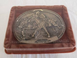 Fredrick Remington The Wounded Bunkie  Vintage Brass Belt Buckle  New