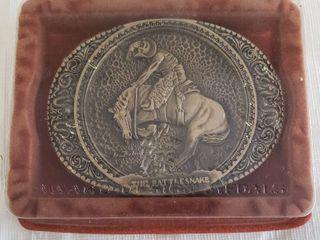 Fredrick Remington The Rattlesnake Vintage Brass Belt Buckle  New