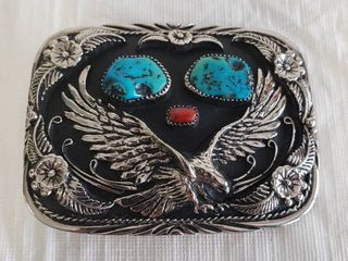 Vtg Eagle Belt Buckle With Coral Turquoise Stone Inlay SSI Western