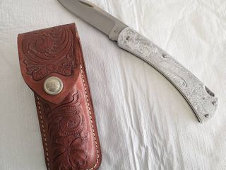 Vintage Buck USA Classic 111 3 Dot Scrolled Alluminum Knife With Sheath