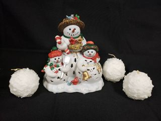 Party lite Snowmen Tealight Holder with 3 Tealite Snowball Candles  Boxes Included
