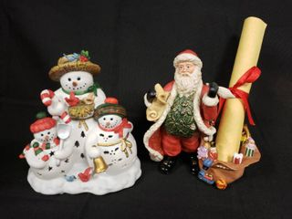 Party lite Snowman And Santa Votive Candle Holders with Boxes