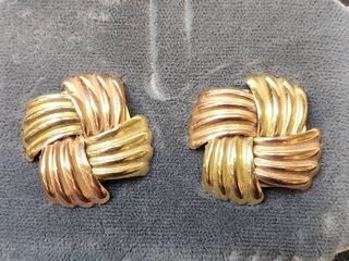 14K Yellow Gold and Rose Gold Earrings