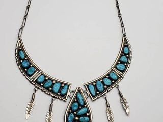 Very Rare   Early Hallmark   Tom Moore Turquoise Native American Sterling Necklace