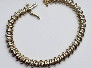GORGEOUS 14K Yellow Gold 3 00ct Diamond Tennis Bracelet