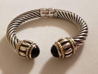Sterling Silver 925   14k Gold Hinged Cable Bangle Bracelet