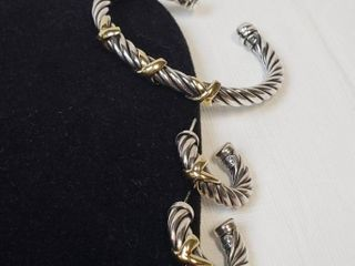 Cable Cuff 925 Sterling Silver   14k Gold Triple X Bracelet with Matching Earrings