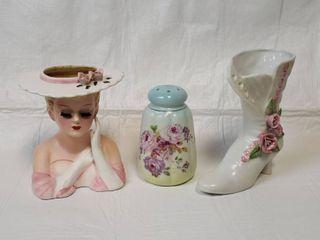 RS Hatpin Holder  Head Vase and Porcelain Boot Vase