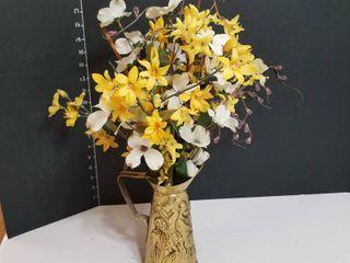 Brass pitcher floral arrangement