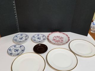 8 Johnson Bros Indies 6  plate  3 Pope Gosser coin gold plates and Bavaria plate