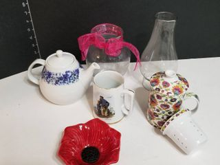 Tea pot  tea cup w strainer and coffee cup