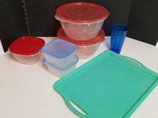 Plastic tray and assorted plastics