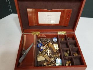 Assorted cuff links and jewelry box