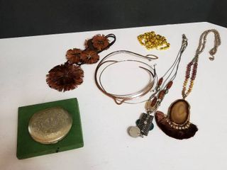Vintage compact and necklaces