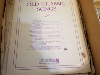 Vintage sheet music and hymnal
