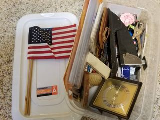 Assorted office supplies and flags