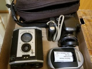 Brownie Reflex camera and Kodak camera  battery charger and case