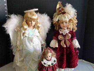 Porcelain dolls set of 3 with stands