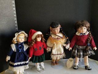 Porcelain dolls set of 4 with stands