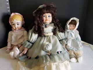 Porcelain dolls set of 3