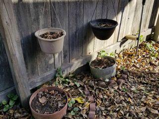 Decorative plastic pots set of 4  largest is 12  dia x 7