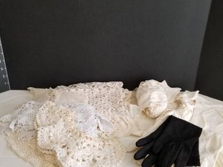 ladies gloves  lace collars and lace edging