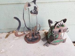 Metal cat decor tallest is 16