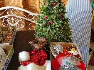 Holly tree and assorted holiday items