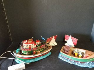 lemax Tug boat and fishing boat with 2 ornaments