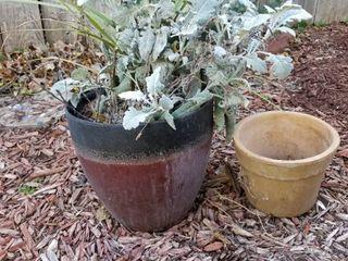 Decorative clay pots set of 2  largest is 13  dia x 12