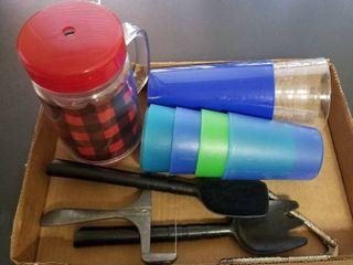 Plastic cups and utensils
