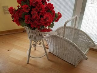 Wicker magazine rack and plant stand