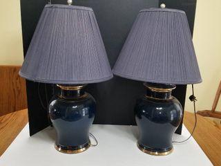 Set of 2 blue lamps