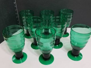 Green glasses set of 8