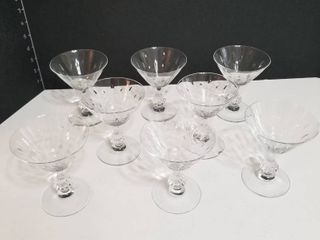 Etched crystal sherberts set of 8