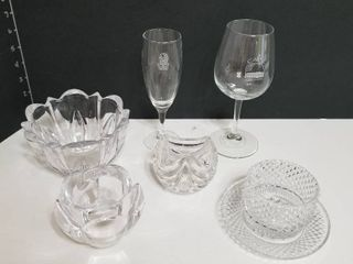 Crystal bowl  candle holders and wine glasses