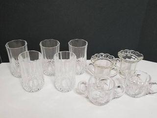 Glasses  creamer and sugar bowls
