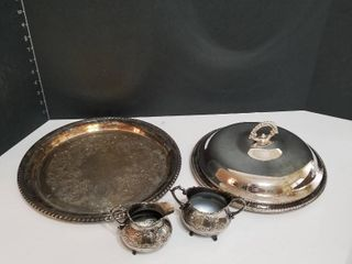 Silverplate serving pieces with creamer and sugar