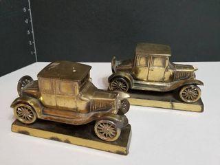 Brass cars book ends