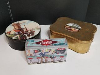 Assorted tin containers w Reverie coffee blend