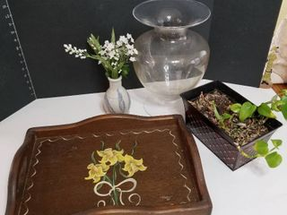 large glass vase  wooden tray  plant and small vase