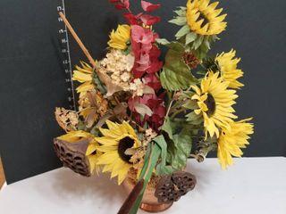 Copper bucket fall floral arrangement