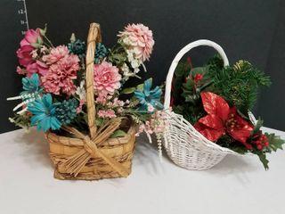 Floral arrangements in baskets