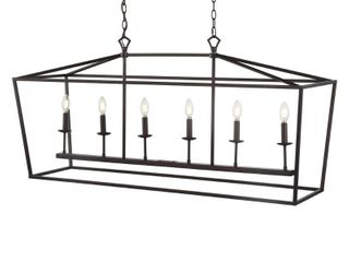 Pagoda 49in linear 6 Bulb lantern Metal lED Pendant  Oil Rubbed Bronze by JONATHAN Y Retail 267 99