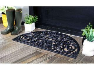 Black Scroll Welcome 18x30in Doormat