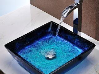 Blazing Blue Glass Vessel Sink