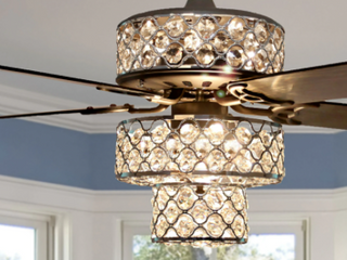 Gorgeous Triple Tiered Crystal Ceiling Fan